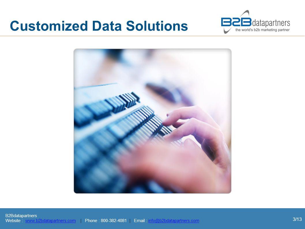 B2Bdatapartners Website : www.b2bdatapartners.com | Phone : 800-382-4081 | Email : info@b2bdatapartners.comwww.b2bdatapartners.cominfo@b2bdatapartners.com 3/13 Customized Data Solutions