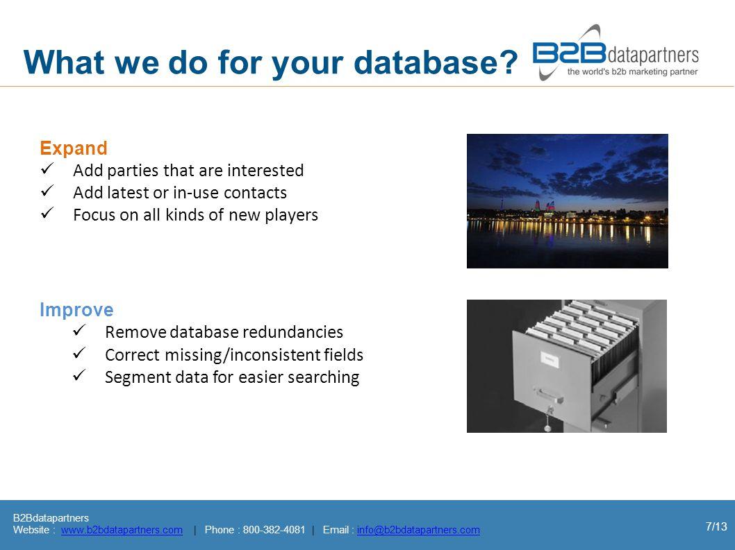 B2Bdatapartners Website : www.b2bdatapartners.com | Phone : 800-382-4081 | Email : info@b2bdatapartners.comwww.b2bdatapartners.cominfo@b2bdatapartners.com 7/13 What we do for your database.