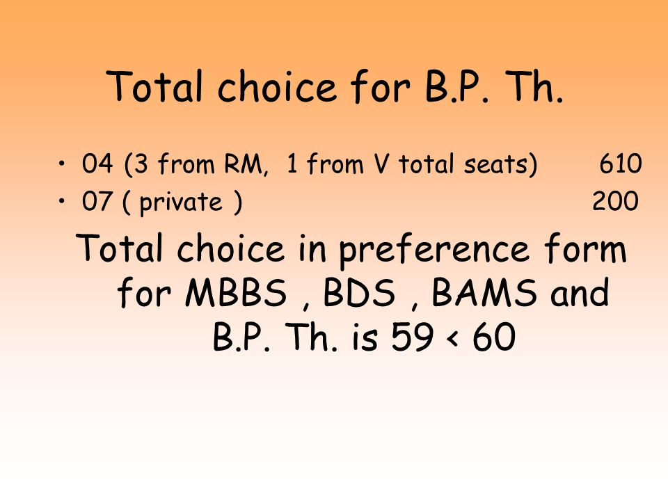 Total choice for BAMS 12 for RM total seats 610 06 for V total seats 320 02for M total seats 110 Total choice in preference form for MBBS, BDS and BAMS is 48