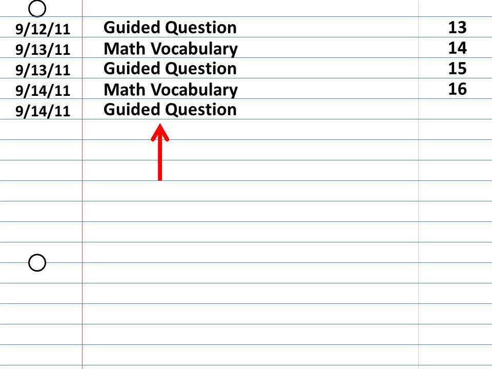 Guided Question 9/14/11 16 Math Vocabulary 9/14/11 9/12/11 Guided Question13 9/13/11 Math Vocabulary 14 9/13/11 Guided Question15