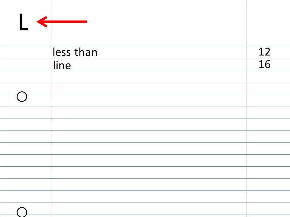 16 line 12 less than L