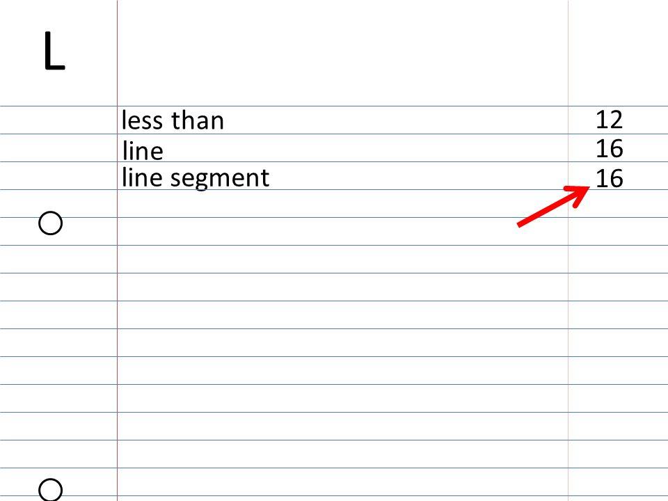 16 line segment 16 line 12 less than L