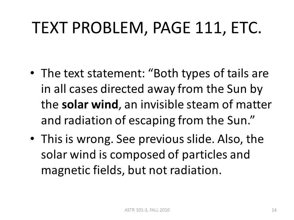 TEXT PROBLEM, PAGE 111, ETC.