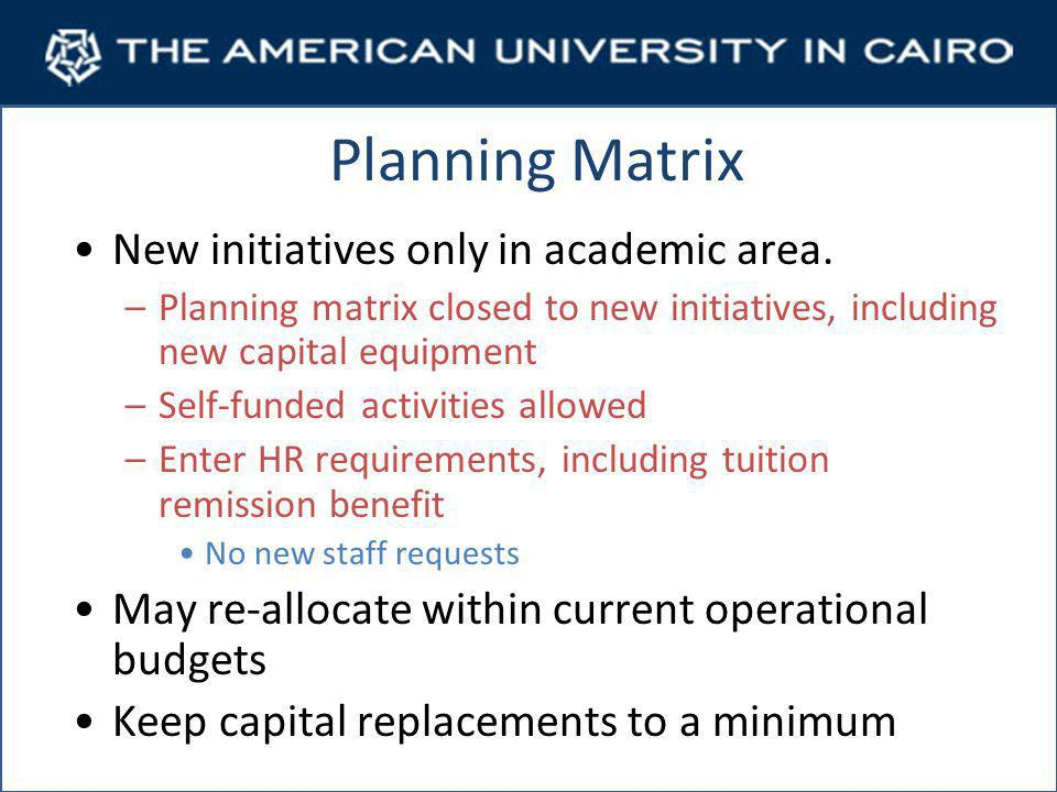 Planning Matrix New initiatives only in academic area.