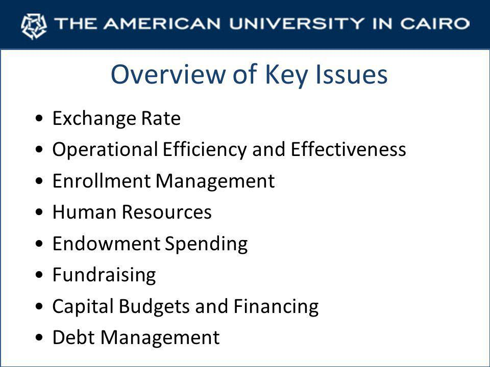 Overview of Key Issues Exchange Rate Operational Efficiency and Effectiveness Enrollment Management Human Resources Endowment Spending Fundraising Capital Budgets and Financing Debt Management