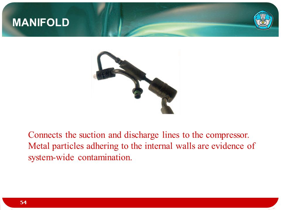 MANIFOLD Connects the suction and discharge lines to the compressor. Metal particles adhering to the internal walls are evidence of system-wide contam