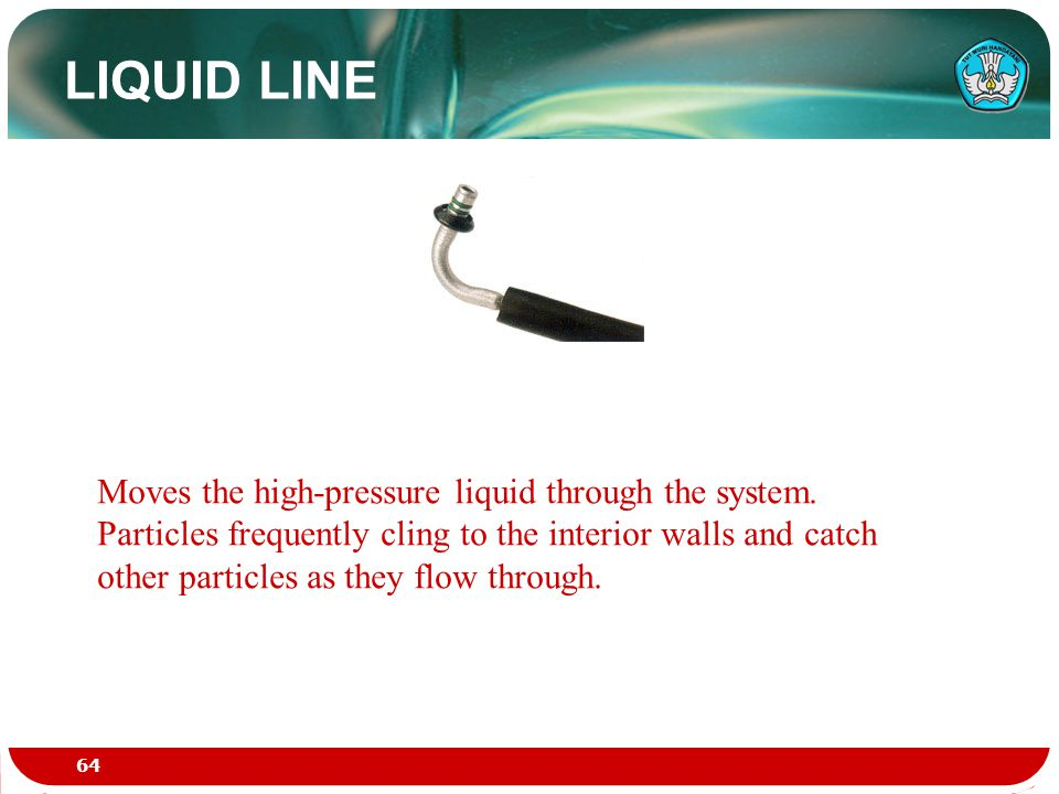 LIQUID LINE Moves the high-pressure liquid through the system. Particles frequently cling to the interior walls and catch other particles as they flow
