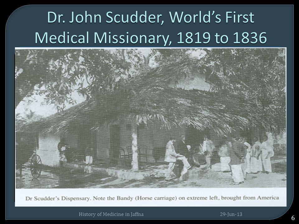  On arrival (1816), the mission started a hospital at Tellippalai 'for the cure of both soul & body'.  This was the first non –official effort to in