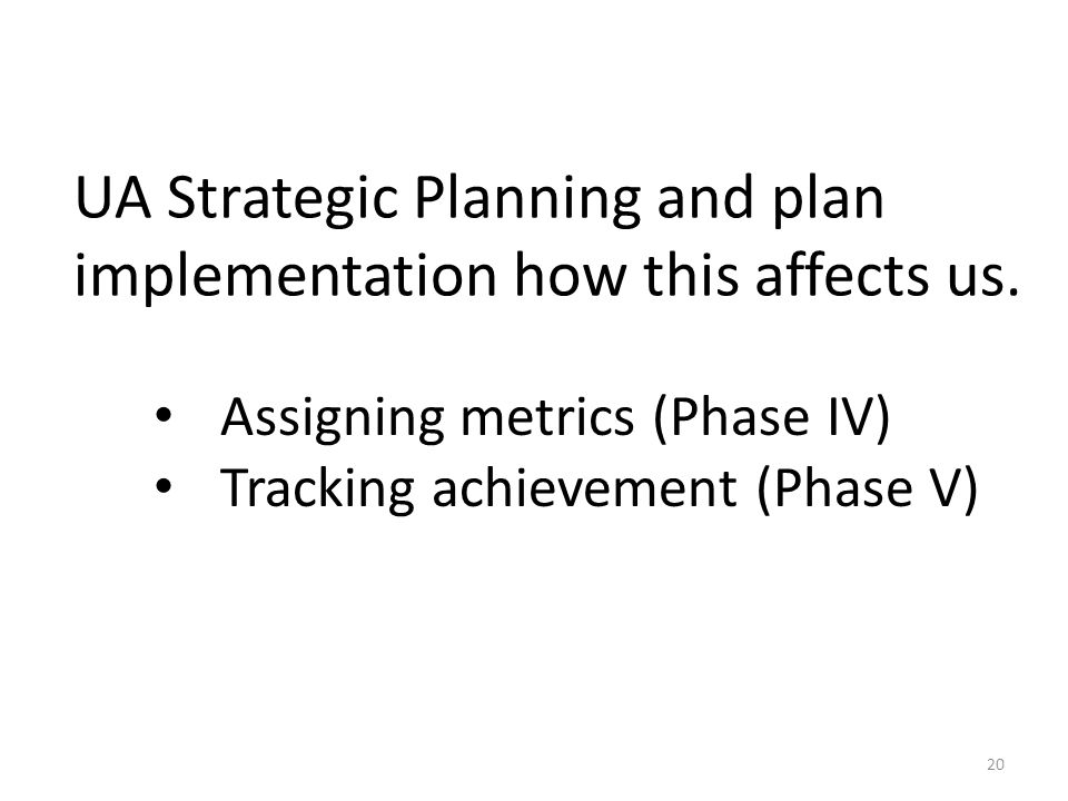 UA Strategic Planning and plan implementation how this affects us.