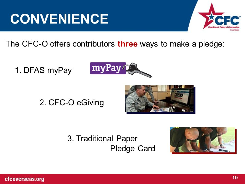 CONVENIENCE 10 The CFC-O offers contributors three ways to make a pledge: 1.