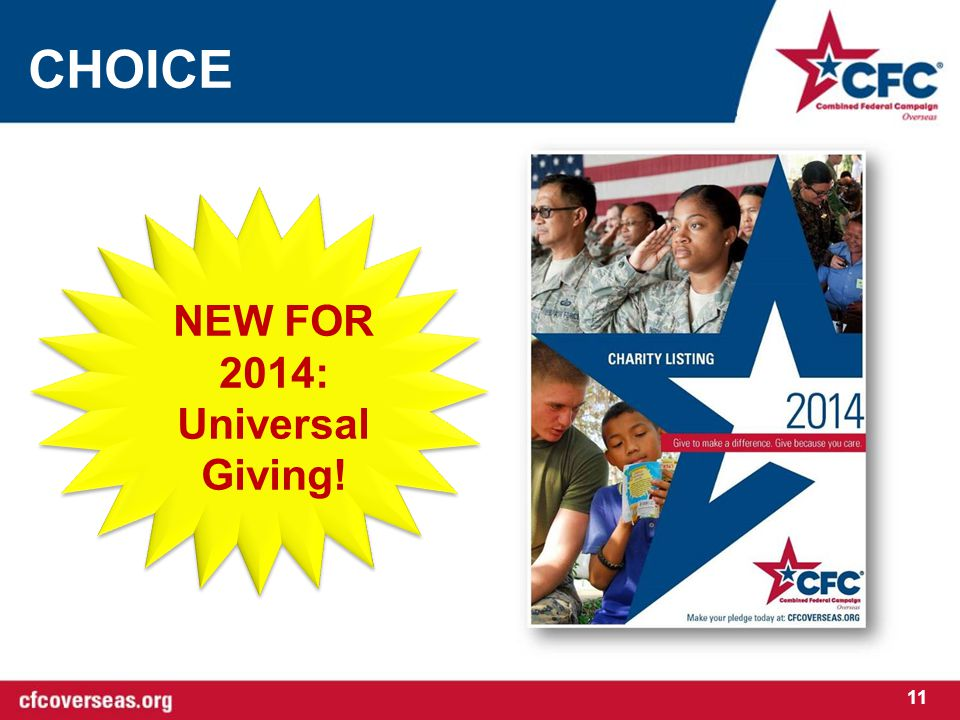 CHOICE 11 NEW FOR 2014: Universal Giving!