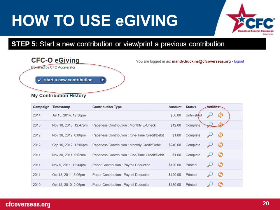 HOW TO USE eGIVING 20 STEP 5: Start a new contribution or view/print a previous contribution.