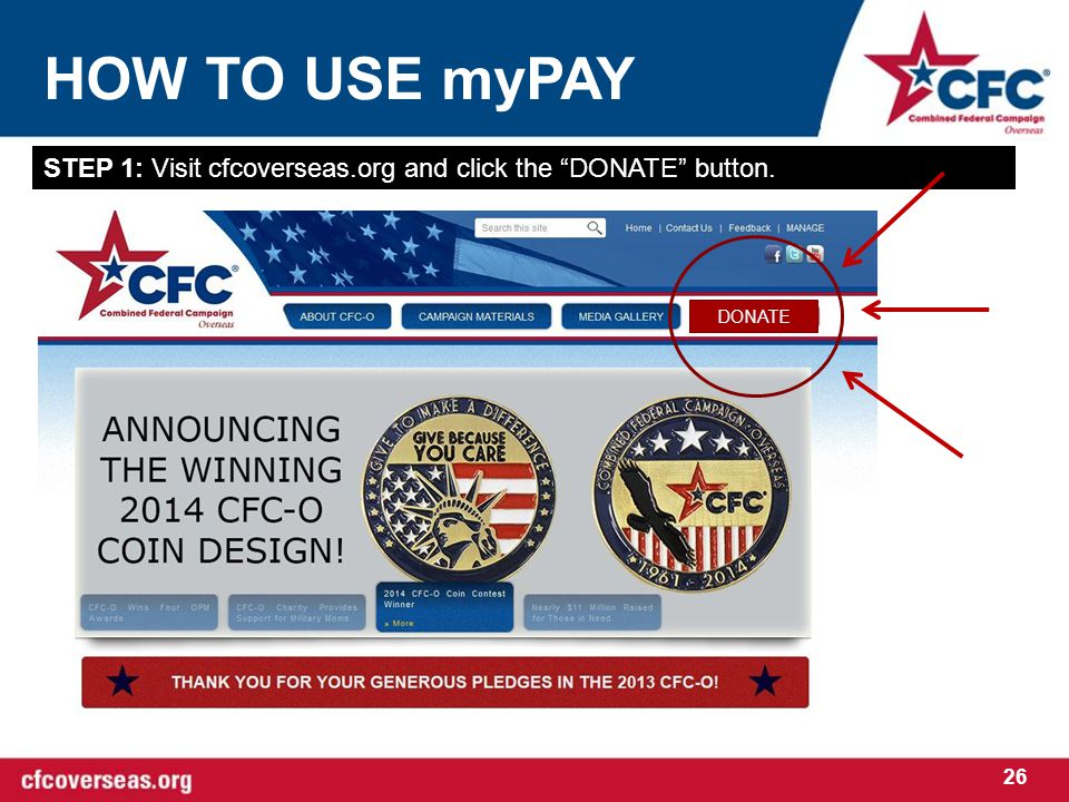 HOW TO USE myPAY 26 STEP 1: Visit cfcoverseas.org and click the DONATE button. DONATE