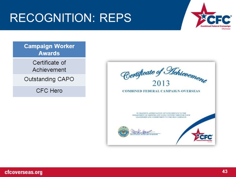RECOGNITION: REPS Campaign Worker Awards Certificate of Achievement Outstanding CAPO CFC Hero 43