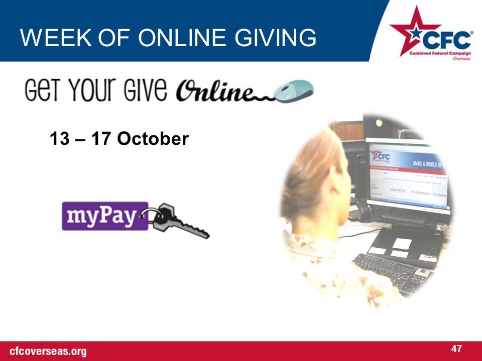 WEEK OF ONLINE GIVING 13 – 17 October 47