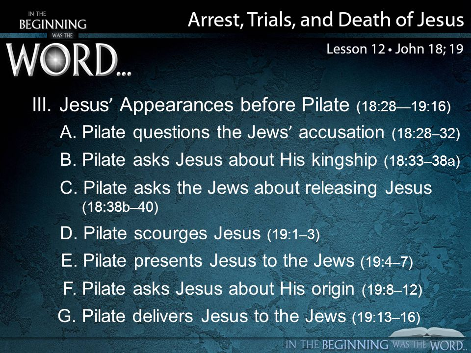 III. Jesus' Appearances before Pilate (18:28—19:16) A. Pilate questions the Jews' accusation (18:28–32) B. Pilate asks Jesus about His kingship (18:33