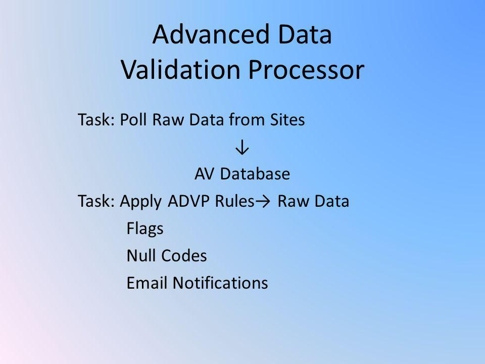 Advanced Data Validation Processor Task: Poll Raw Data from Sites ↓ AV Database Task: Apply ADVP Rules→ Raw Data Flags Null Codes Email Notifications