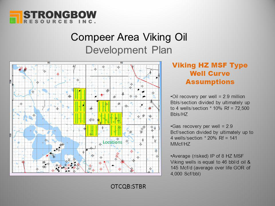 Compeer Area Viking Oil Development Plan Oil recovery per well = 2.9 million Bbls/section divided by ultimately up to 4 wells/section * 10% Rf = 72,500 Bbls/HZ Gas recovery per well = 2.9 Bcf/section divided by ultimately up to 4 wells/section * 20% Rf = 141 MMcf/HZ Average (risked) IP of 8 HZ MSF Viking wells is equal to 46 bbl/d oil & 145 Mcf/d (average over life GOR of 4,000 Scf/bbl) Viking HZ MSF Type Well Curve Assumptions OTCQB:STBR