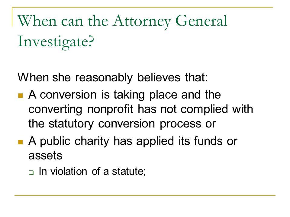 When can the Attorney General Investigate.