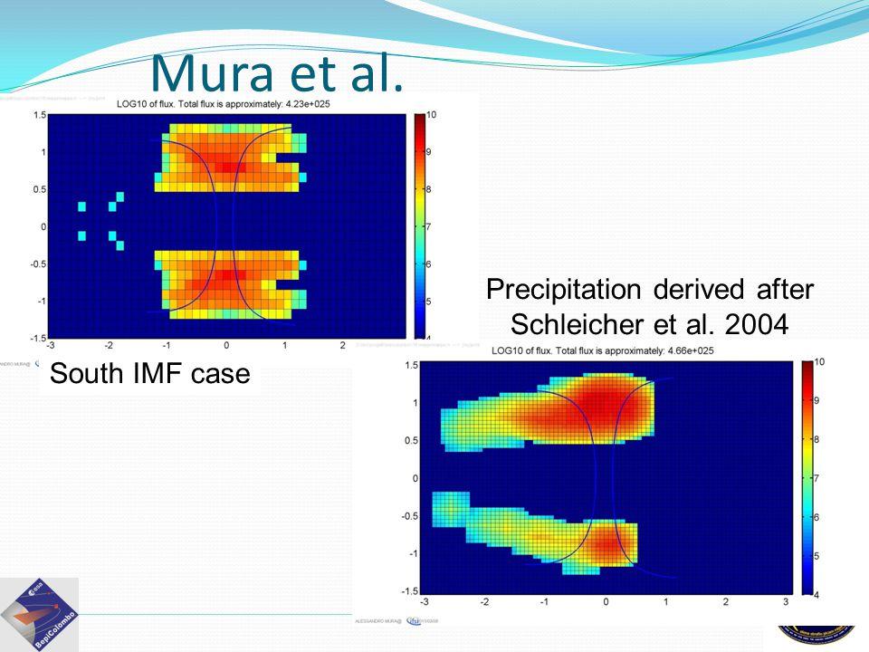 Precipitation derived after Schleicher et al. 2004 Observations Mura et al. South IMF case