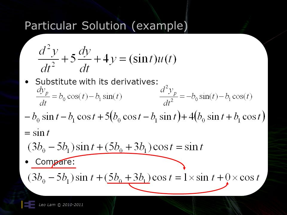 Particular Solution (example) Leo Lam © 2010-2011 11 Substitute with its derivatives: Compare: