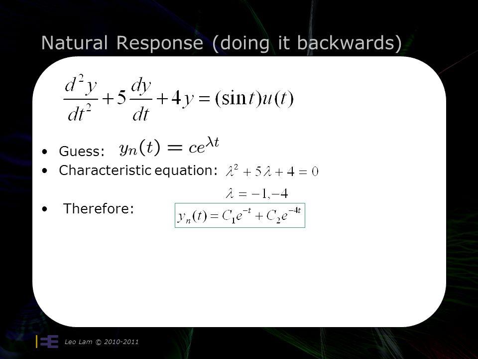 Natural Response (doing it backwards) Leo Lam © 2010-2011 14 Guess: Characteristic equation: Therefore: