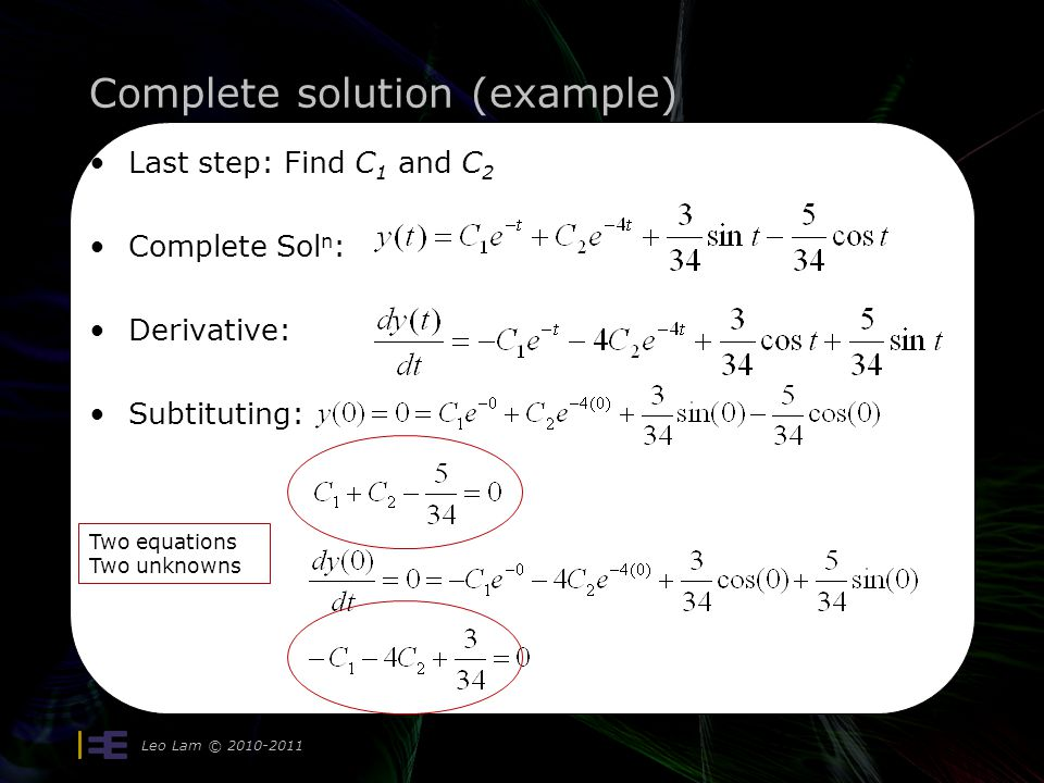Complete solution (example) Leo Lam © 2010-2011 16 Last step: Find C 1 and C 2 Complete Sol n : Derivative: Subtituting: Two equations Two unknowns