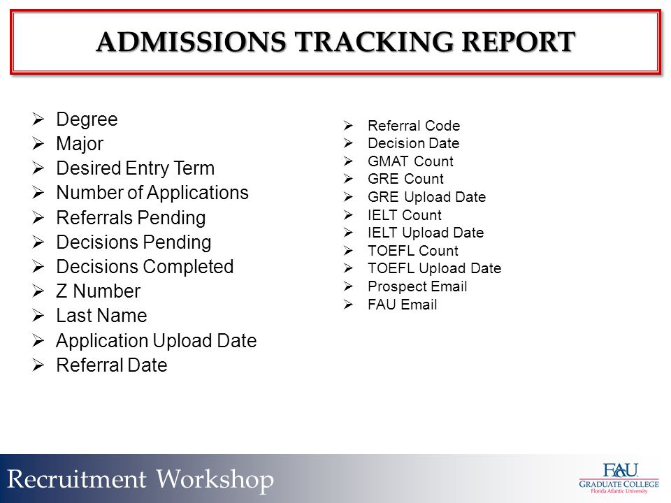 Recruitment Workshop ADMISSIONS TRACKING REPORT  Degree  Major  Desired Entry Term  Number of Applications  Referrals Pending  Decisions Pending  Decisions Completed  Z Number  Last Name  Application Upload Date  Referral Date  Referral Code  Decision Date  GMAT Count  GRE Count  GRE Upload Date  IELT Count  IELT Upload Date  TOEFL Count  TOEFL Upload Date  Prospect Email  FAU Email
