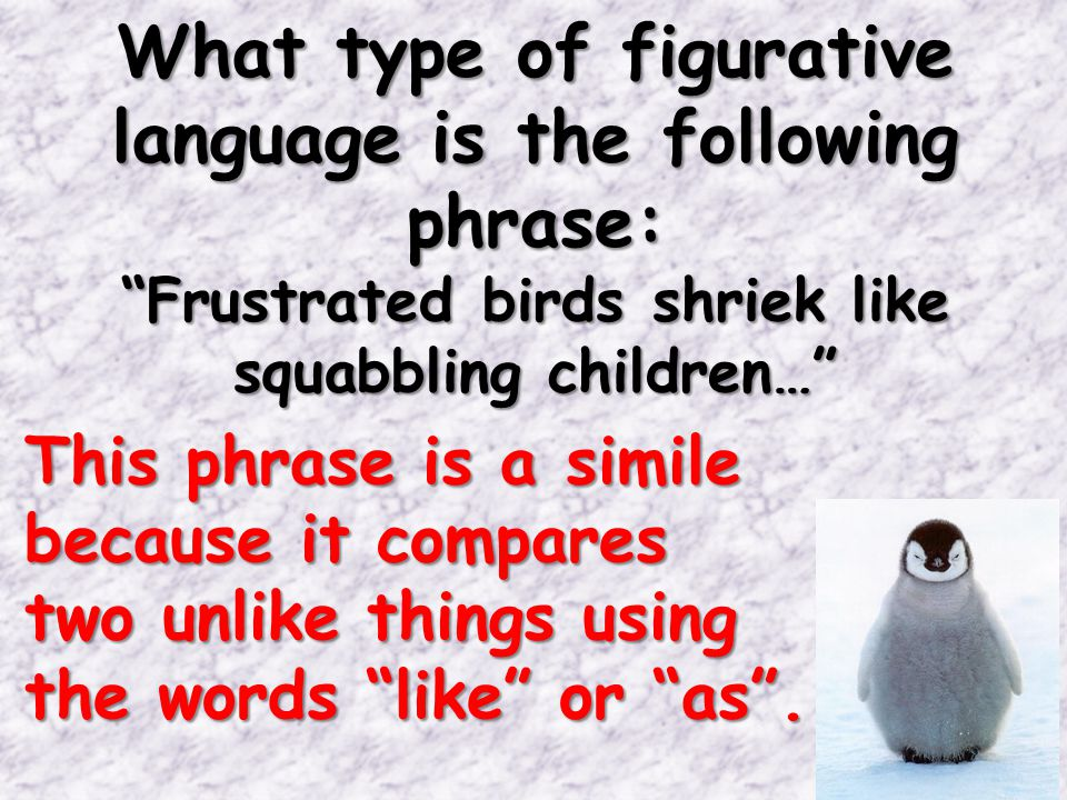 What type of figurative language is the following phrase: Frustrated birds shriek like squabbling children… This phrase is a simile because it compares two unlike things using the words like or as .