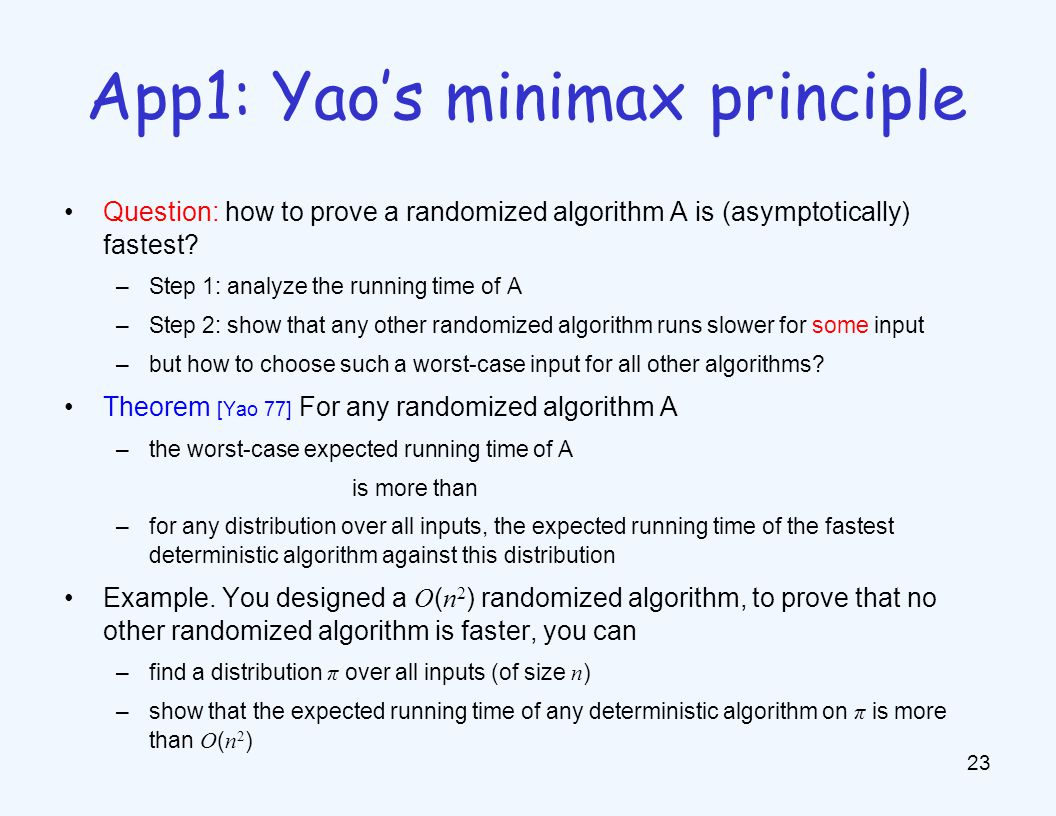 Question: how to prove a randomized algorithm A is (asymptotically) fastest.