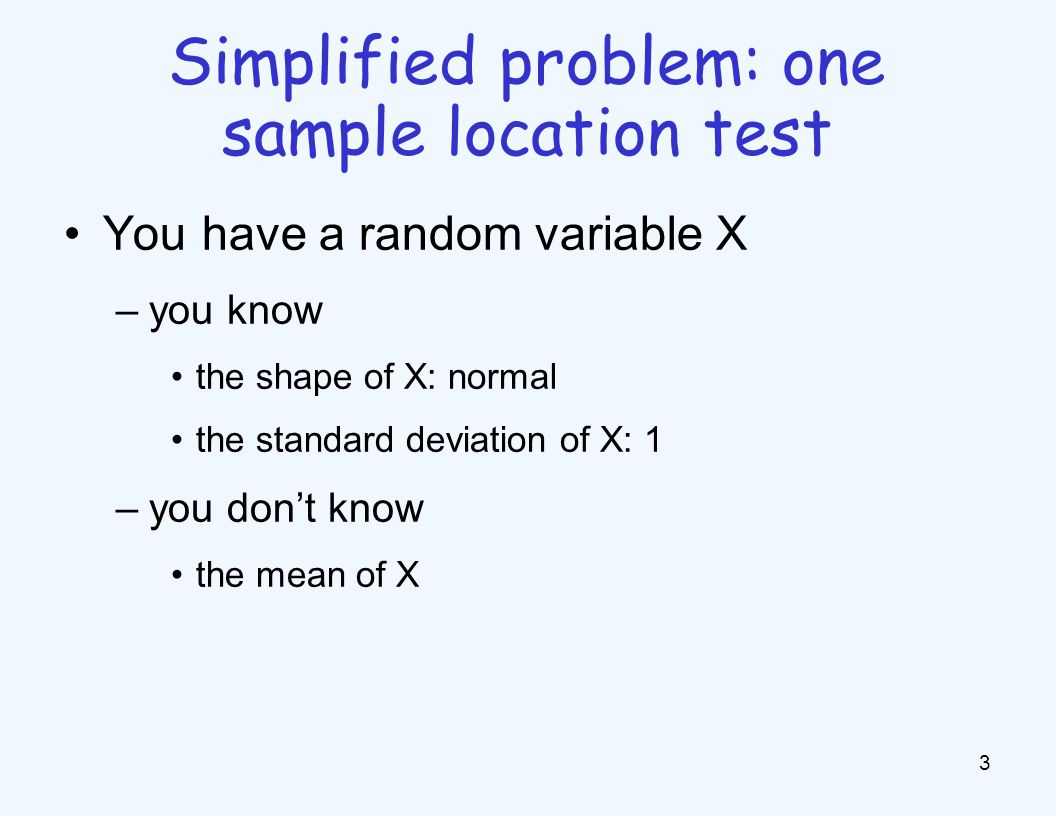 A hypothesis test f is uniformly most powerful (UMP), if –for any other test f' with the same Type I error –for any θ ∈ H 1, Type II error of f < Type II error of f' 14 Optimal hypothesis tests Corollary of Karlin-Rubin theorem: One-sided Z-test is a UMP for H 0 :≤0 and H 1 :>0 –generally no UMP for two-sided tests Type I: α Type II: β Black: UMP Any other test