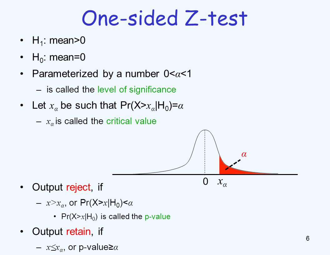 Popular values of α : –5%: x α = 1.645 std (somewhat confident) –1%: x α = 2.33 std (very confident) α is the probability that given mean=0, a randomly generated data will leads to reject –Type I error 7 Interpreting level of significance 0 xαxα α