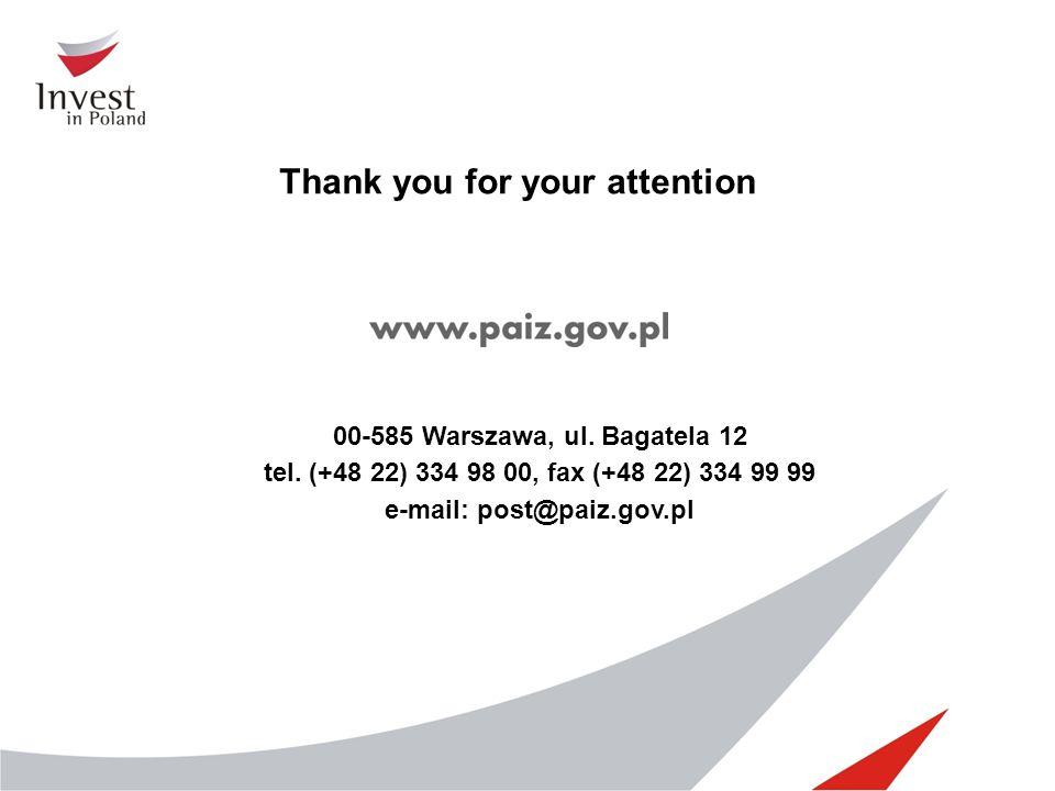 00-585 Warszawa, ul. Bagatela 12 tel. (+48 22) 334 98 00, fax (+48 22) 334 99 99 e-mail: post@paiz.gov.pl Thank you for your attention