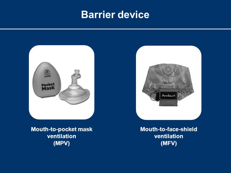 Barrier device Mouth-to-face-shield ventilation (MFV) Mouth-to-pocket mask ventilation (MPV)