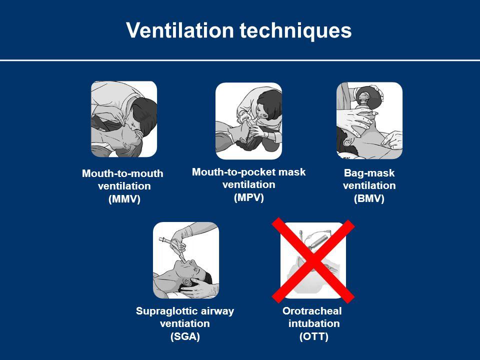 Ventilation techniques Mouth-to-mouth ventilation (MMV) Mouth-to-pocket mask ventilation (MPV) Bag-mask ventilation (BMV) Supraglottic airway ventiation (SGA) Orotracheal intubation (OTT)