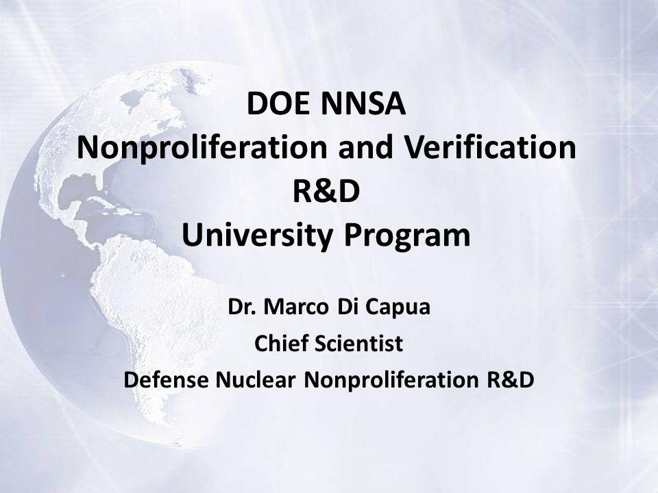 DOE NNSA Nonproliferation and Verification R&D University Program Dr.