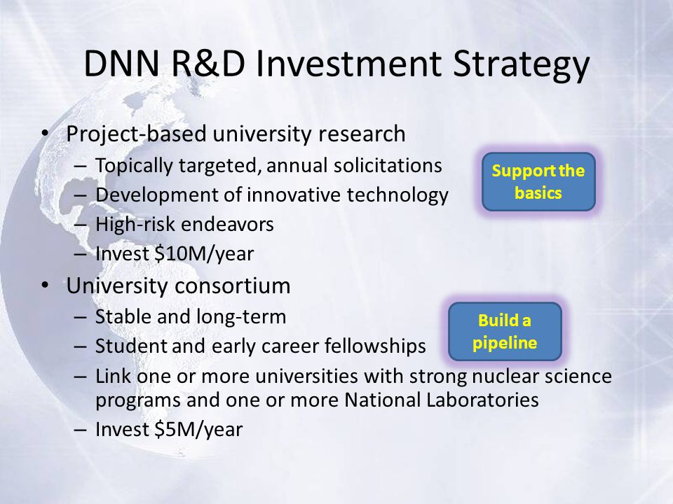 DNN R&D Investment Strategy Project-based university research – Topically targeted, annual solicitations – Development of innovative technology – High-risk endeavors – Invest $10M/year University consortium – Stable and long-term – Student and early career fellowships – Link one or more universities with strong nuclear science programs and one or more National Laboratories – Invest $5M/year Support the basics Build a pipeline