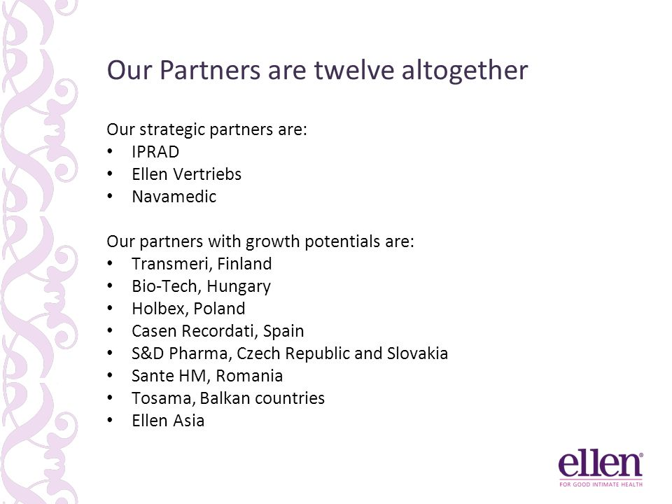 Our Partners are twelve altogether Our strategic partners are: IPRAD Ellen Vertriebs Navamedic Our partners with growth potentials are: Transmeri, Finland Bio-Tech, Hungary Holbex, Poland Casen Recordati, Spain S&D Pharma, Czech Republic and Slovakia Sante HM, Romania Tosama, Balkan countries Ellen Asia