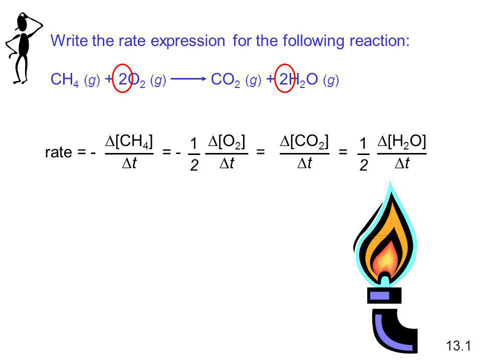Write the rate expression for the following reaction: CH 4 (g) + 2O 2 (g) CO 2 (g) + 2H 2 O (g) rate = -  [CH 4 ] tt = -  [O 2 ] tt 1 2 =  [H 2