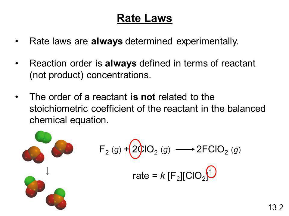 F 2 (g) + 2ClO 2 (g) 2FClO 2 (g) rate = k [F 2 ][ClO 2 ] Rate Laws Rate laws are always determined experimentally. Reaction order is always defined in