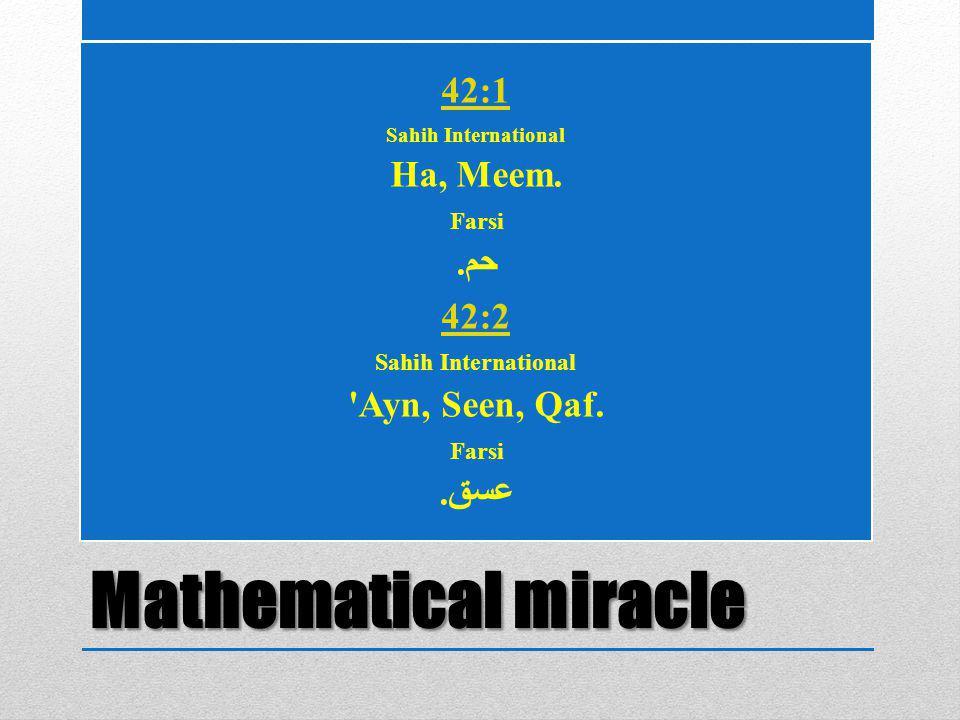 Mathematical miracle 42:1 Sahih International Ha, Meem.