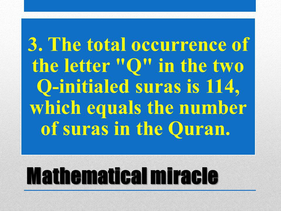 Mathematical miracle 3. The total occurrence of the letter