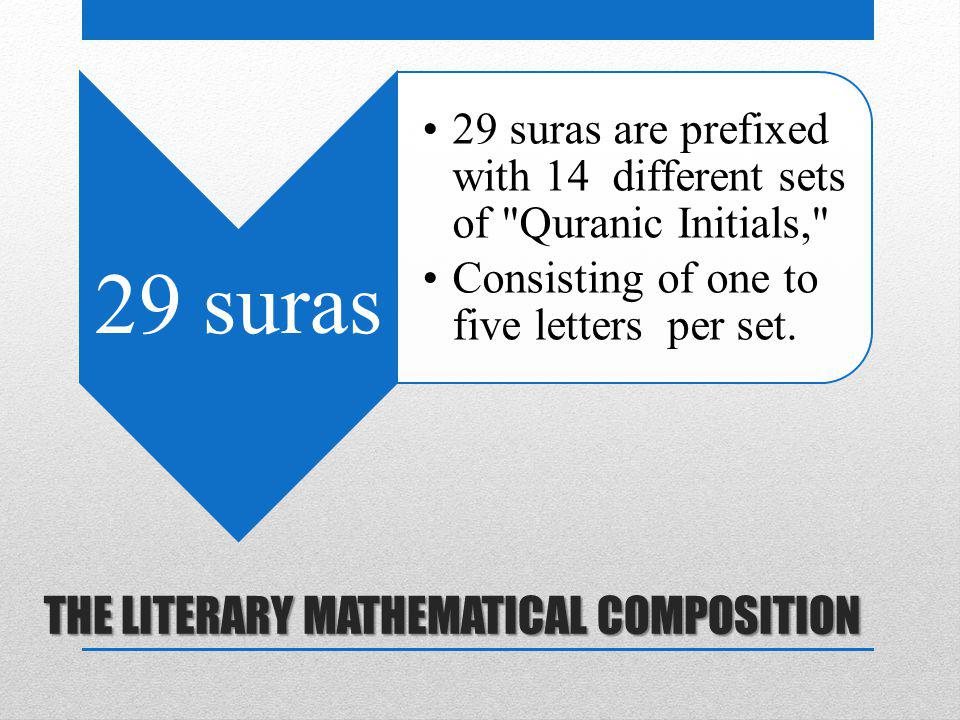 THE LITERARY MATHEMATICAL COMPOSITION 29 suras 29 suras are prefixed with 14 different sets of