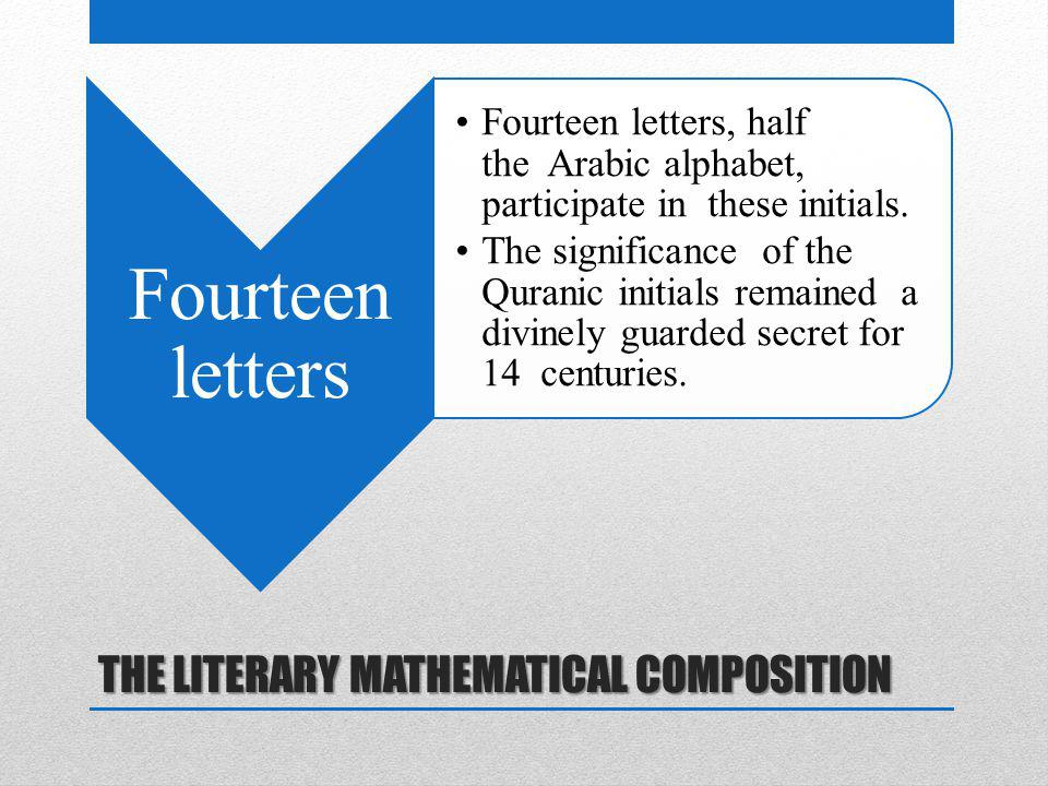 THE LITERARY MATHEMATICAL COMPOSITION Fourteen letters Fourteen letters, half the Arabic alphabet, participate in these initials. The significance of