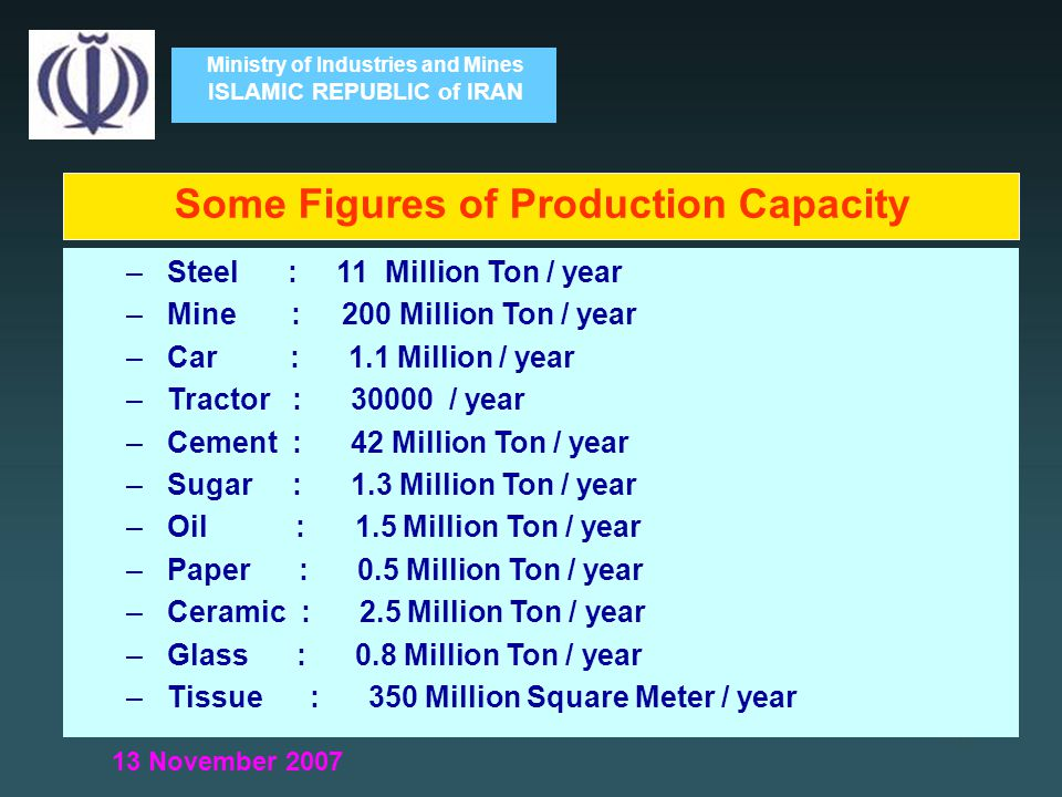 Ministry of Industries and Mines ISLAMIC REPUBLIC of IRAN – Steel : 11 Million Ton / year – Mine : 200 Million Ton / year – Car : 1.1 Million / year – Tractor : 30000 / year – Cement : 42 Million Ton / year – Sugar : 1.3 Million Ton / year – Oil : 1.5 Million Ton / year – Paper : 0.5 Million Ton / year – Ceramic : 2.5 Million Ton / year – Glass : 0.8 Million Ton / year – Tissue : 350 Million Square Meter / year Some Figures of Production Capacity 13 November 2007