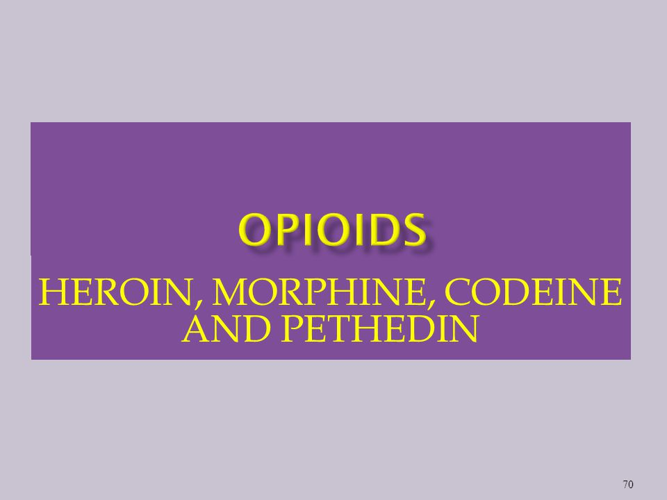 HEROIN, MORPHINE, CODEINE AND PETHEDIN 70