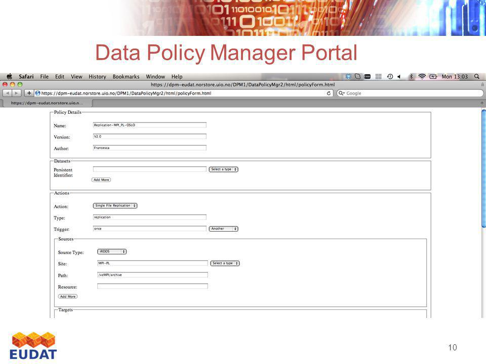 10 Data Policy Manager Portal