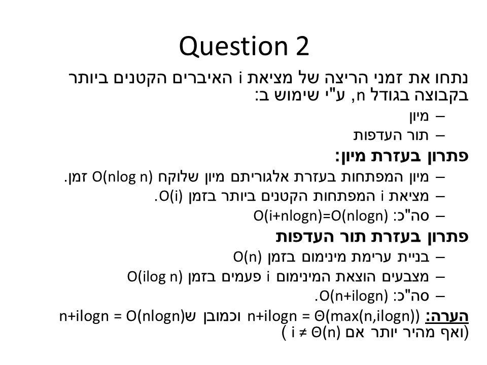 Question 2 נתחו את זמני הריצה של מציאת i האיברים הקטנים ביותר בקבוצה בגודל n, ע י שימוש ב : –מיון –תור העדפות פתרון בעזרת מיון : –מיון המפתחות בעזרת אלגוריתם מיון שלוקח O(nlog n) זמן.