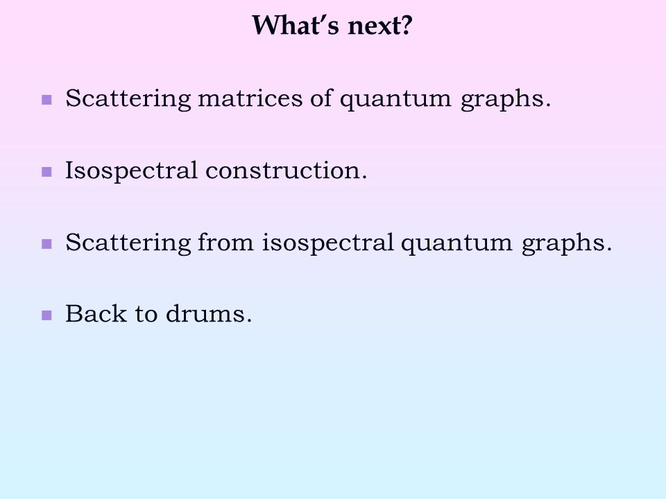What's next. Scattering matrices of quantum graphs.