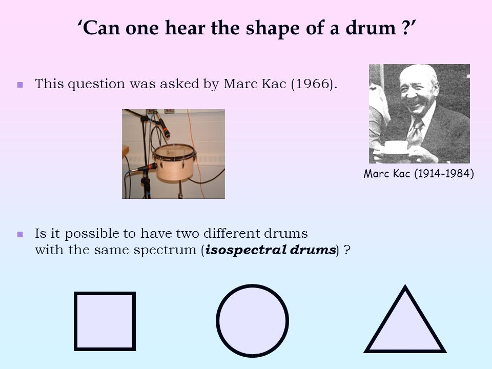 This question was asked by Marc Kac (1966). Is it possible to have two different drums with the same spectrum ( isospectral drums ) ? 'Can one hear th